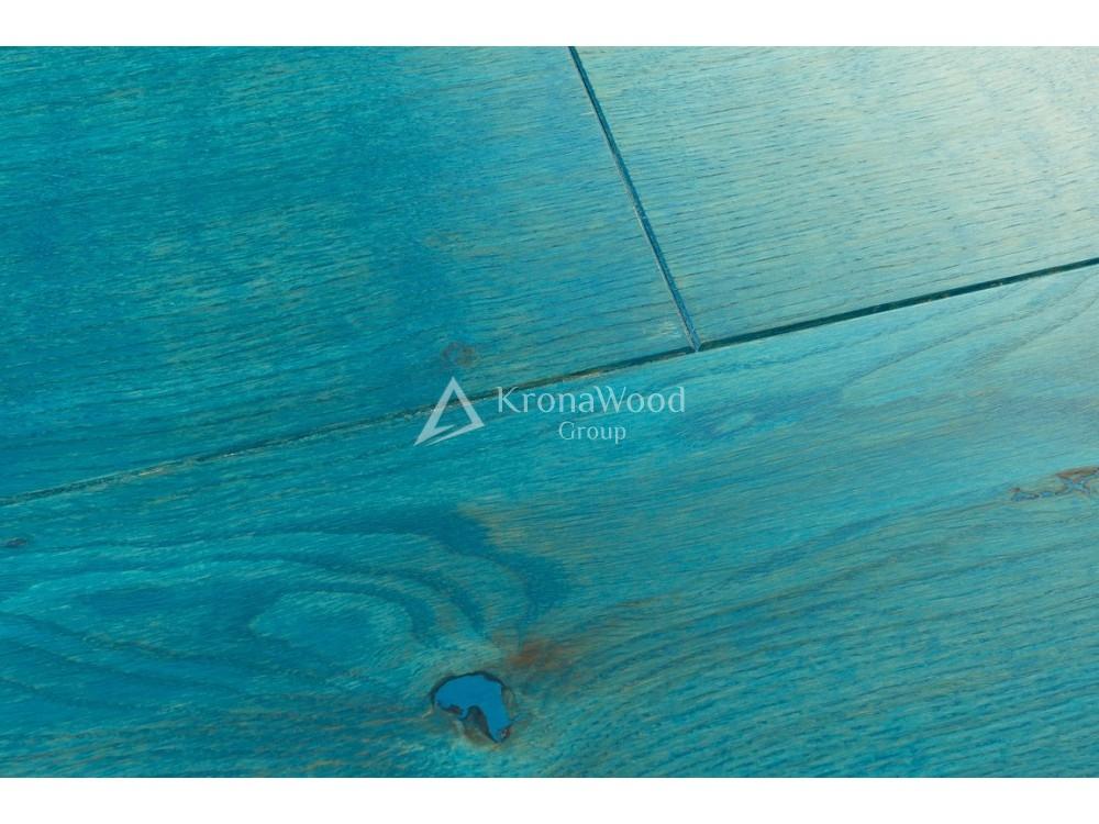 Массивная доска Дуб покрытая маслом Osmo Голубой 110х20х400-1600